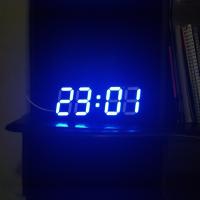 Relógio Usb Digital de Mesa Parede Escritótrio Led Azul