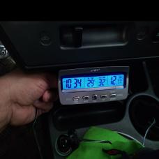 Termômetro Relógio e Voltímetro Digital Bateria em Tempo Real 12v